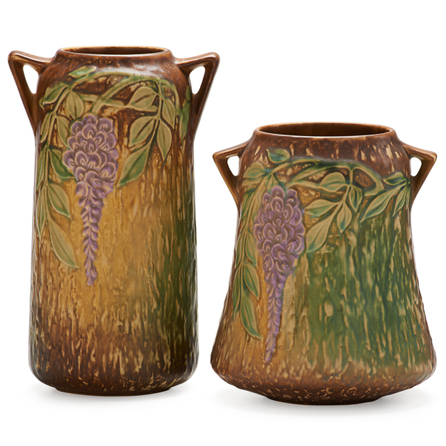 """Roseville Pottery, 'Two Brown Wisteria Vases, One 8"""" and one 10"""", Zanesville, OH', 1933, Rago/Wright"""