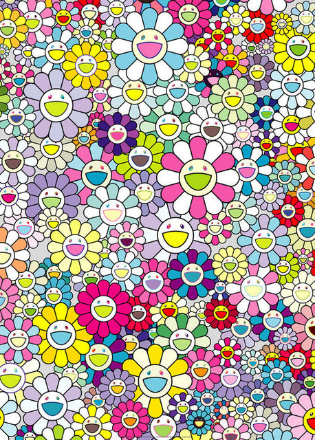Takashi Murakami, 'CHAMPAGNE SUPERNOVA: MULTICOLOR + PINK AND WHITE STRIPES', 2013, Print, Offset print with silver, Dope! Gallery