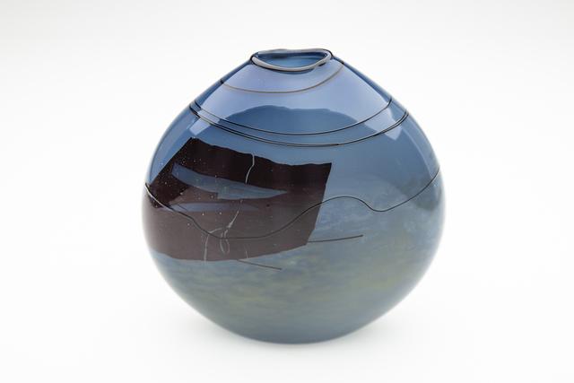 William Morris (b.1957), 'Blue Glass Vase', 1979, Sculpture, Hand Blown Glass, Modern Artifact
