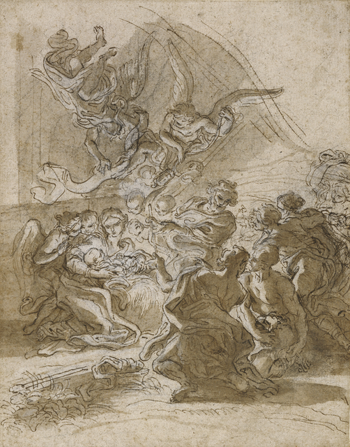 Giovanni Battista Gaulli, called Baciccio, 'Adoration of the Shepherds', 1672, Pen and brown ink, brown wash, white gouache heightening and black chalk, J. Paul Getty Museum