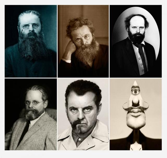 , 'Rodin, Morris, Cézanne, Man Ray, Dali (Beard Project Lithographic Print),' 2015, Teriha Yaegashi + Juliette Premmereur + Ella Marder+Lara Pan