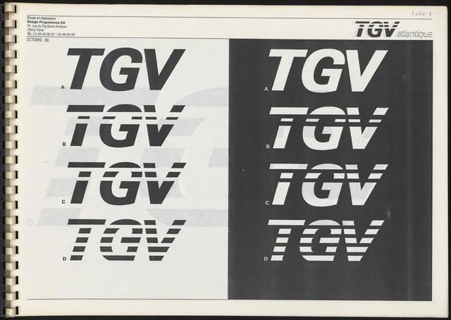 , 'TGV Atlantique positive and negative logos,' 1986, Les Arts Décoratifs