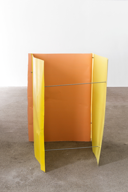 , 'Rapsgelb/Zinkgelb/Beigerot (Flyer 3-teilig),' 2016-2018, Galerie Elisabeth & Klaus Thoman
