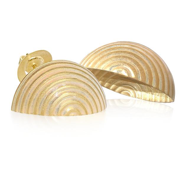 , 'Opalescent Enamel & Yellow Gold Open Shell Handmade Earrings,' 2015, Szor Collections