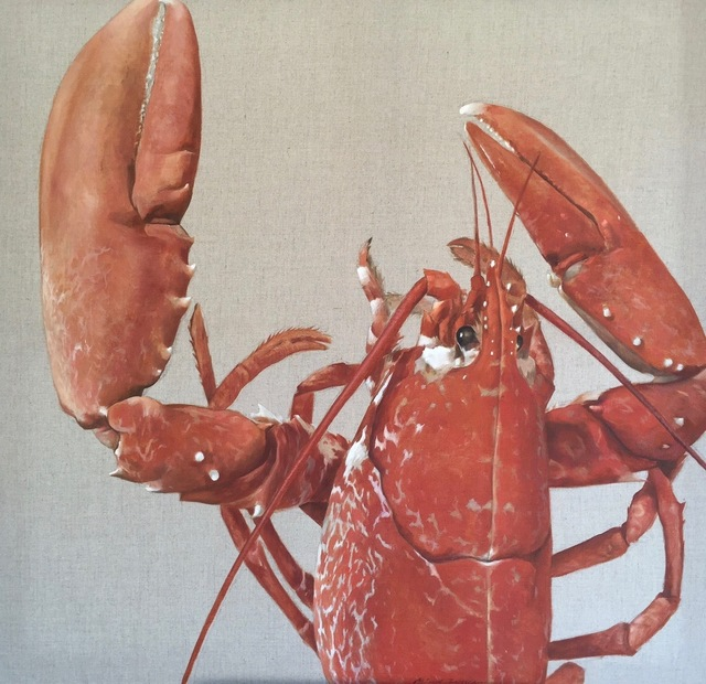 """Michel Brosseau, '""""Keeper"""" oil painting of Red Lobster Head and Claws Painted on Exposed Linen', 2017, Eisenhauer Gallery"""