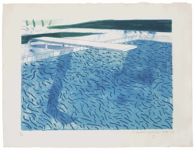 David Hockney, 'Lithograph of Water made of thick and thin lines and a light blue and a dark blue wash', 1980, Christie's