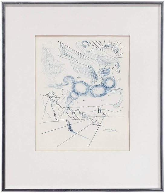 Salvador Dalí, 'PEGASUS IN FLIGHT WITH ANGEL, Etching', 20th Century, Lions Gallery