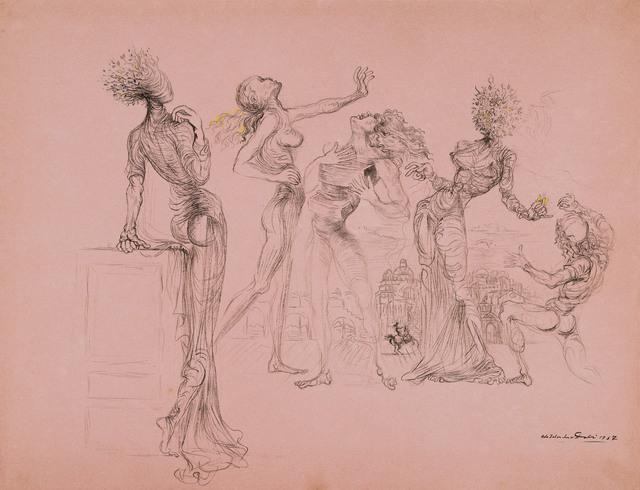 , 'Cinq personnages surrealists: Femmes a tete de fleurs, femme a tiroirs (evocation du jugement de Paris),' 1937, Leila Heller Gallery