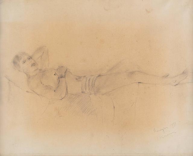 Filippo De Pisis, 'Roger III', Mixed Media, Pencil on paper laid on canvas, Finarte