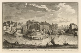 Giuseppe Vasi, 'Isola Tiberina verso Occidente', 1747, Engraving, Getty Research Institute