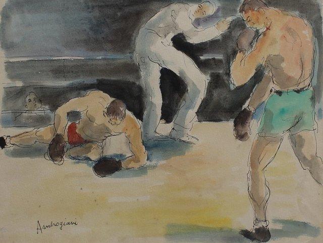 , 'Les Boxeurs II - Combat de Boxe,' 1940-1949, Bureau of Interior Affairs
