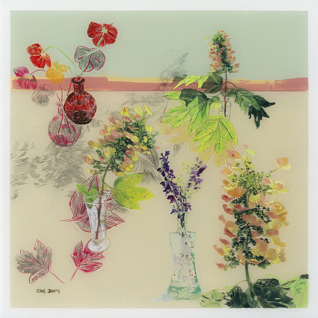 Gail Norfleet, 'Hydrangea Landscape #1', 2019, Painting, Acrylic, litho pencil, and china marker on Lucite, Valley House Gallery & Sculpture Garden