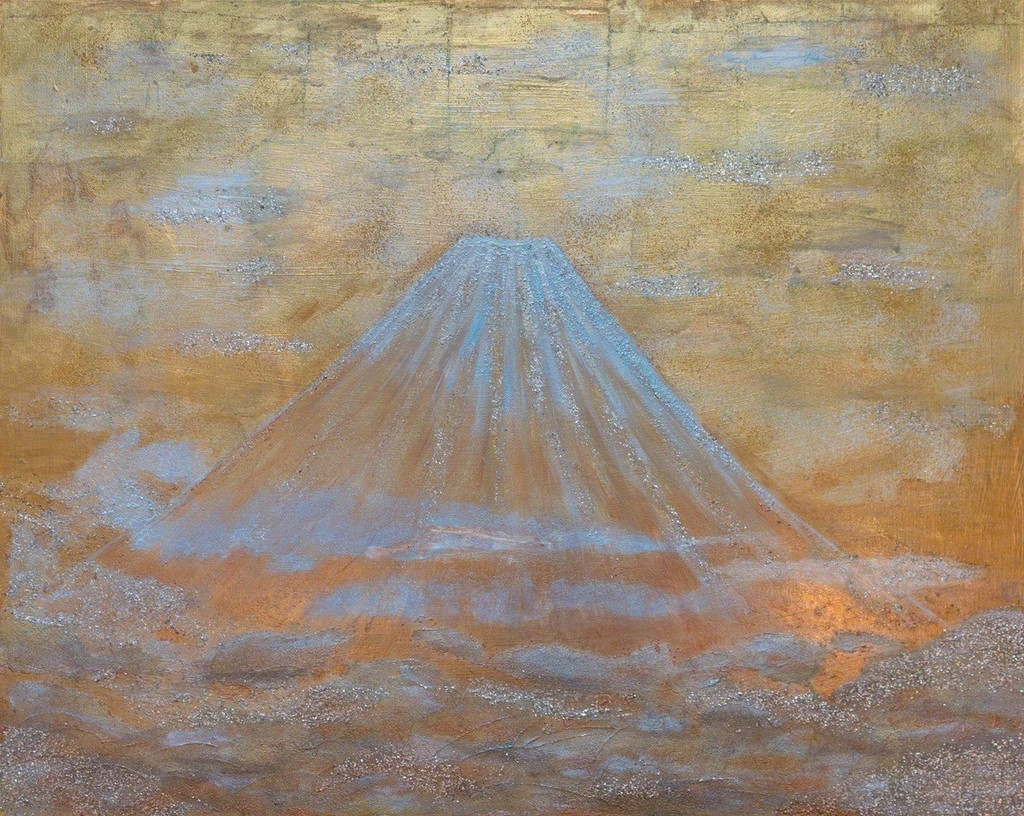 "As an artist, the perfect symmetry of Mt. Fuji was evident to Rajul from the beginning.  A dormant volcano, the mountain can be considered a giver and taker of life.  The reverence of ""Fuji-san"" by the Japanese people is an expression of love and respect.   After living in Japan for 5 years, Rajul has come to appreciate this and offers her own mystical interpretations of Fuji-San in The Fuji Collection."