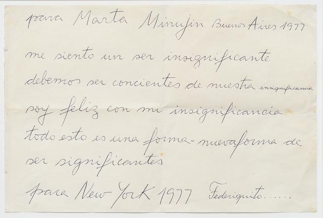 , 'Carta para Marta Minujin,' 1977, Del Infinito