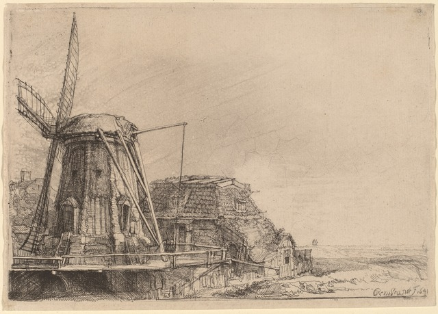 Rembrandt van Rijn, 'The Windmill', 1641, Print, Etching, National Gallery of Art, Washington, D.C.