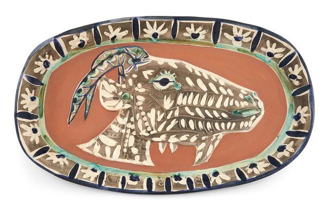 Pablo Picasso, 'Tête De Chevre De Profil (Alain Ramié 146)', 1952, Design/Decorative Art, Painted and partially glazed red ceramic plate, Doyle