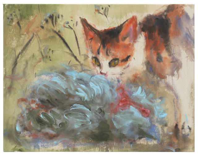 , 'Tabby cat and blue rooster (two),' 2018, DITTRICH & SCHLECHTRIEM