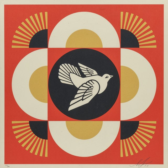 Shepard Fairey, 'Dove Geometric (Red, Gold, and Cream) (three works)', 2017, Heritage Auctions