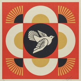 Dove Geometric (Red, Gold, and Cream) (three works)
