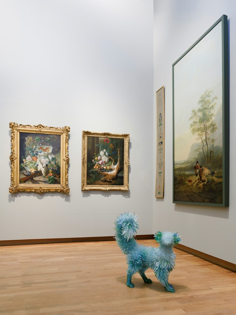 "Marta Klonowska, ""Still Life with Flowers, Fruits and a Dog"", after Abraham van Strij. 2016. Glass.