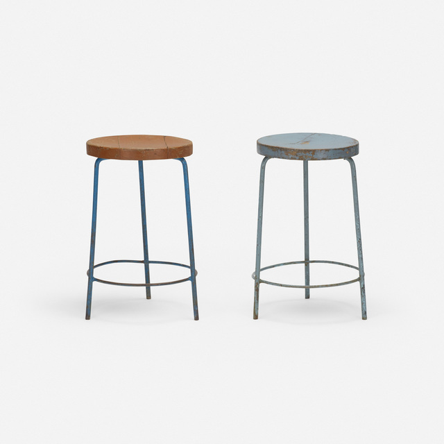 Pierre Jeanneret, 'Pair of Stools from the College of Architecture, Chandigarh', c. 1960, Wright