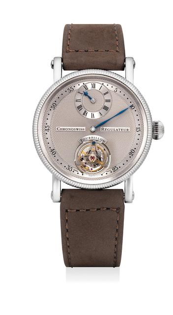 Chronoswiss, 'A fine and attractive platinum régulateur wristwatch with tourbillon', Circa 2006, Phillips