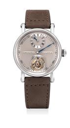 A fine and attractive platinum régulateur wristwatch with tourbillon