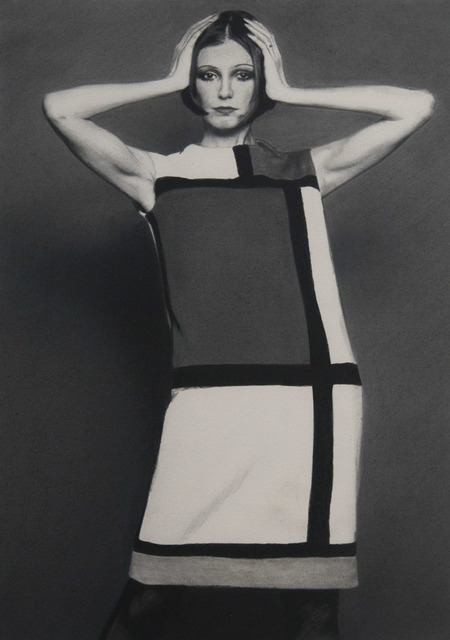 Rob Davis, 'YSL Mondrian Dress', 2019, Drawing, Collage or other Work on Paper, Graphite on paper, Friends Seminary Benefit Auction