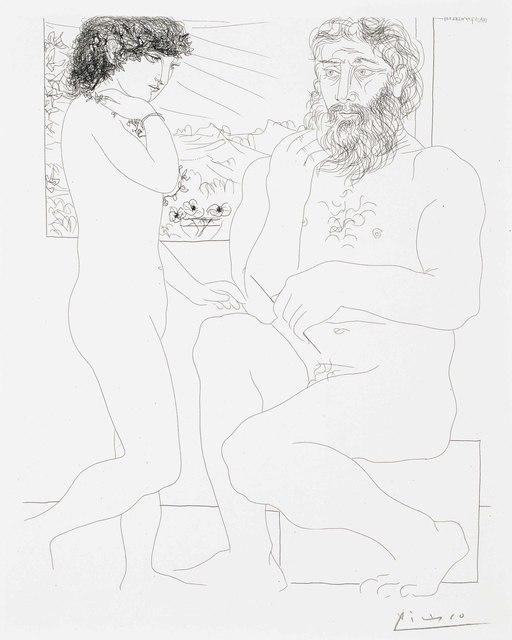 Pablo Picasso, 'Sculpteur songeant, modèle aux cheveux noirs et bol avec trois anémones, from La Suite Vollard', 1933, Print, Etching, on Montval paper, Christie's