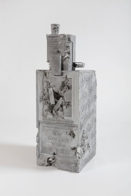 Daniel Arsham, 'Grey Selenite Newspaper Machine', 2019, Perrotin