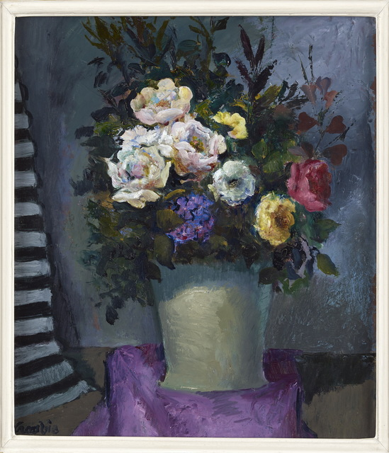 William Crosbie, 'Roses in a Grey Vase on Purple Cloth', 1991, The Scottish Gallery