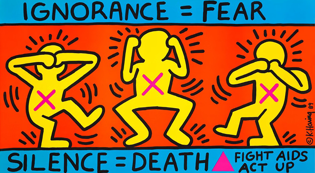 Keith Haring, 'Keith Haring Ignorance = Fear 1989 (Keith Haring ACT UP)', 1989, Posters, Offset lithograph, Lot 180