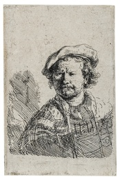 Self-Portrait in a Flat Cap and Embroidered Dress