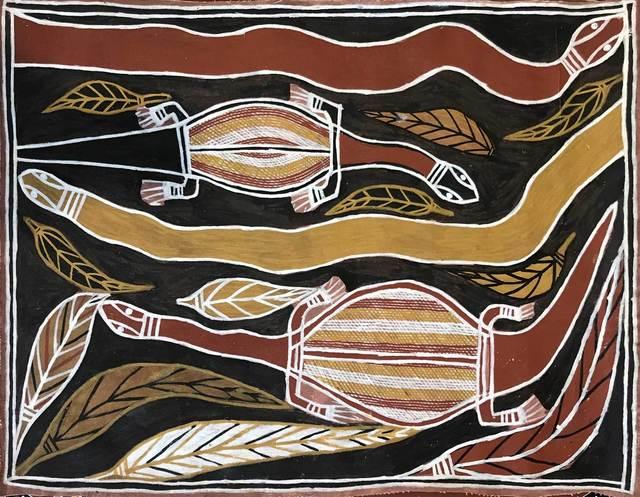 David Daymirringu Malangi (1927-1999), 'Goanna and Mangrove Snake', ca. 1995, Gannon House Gallery