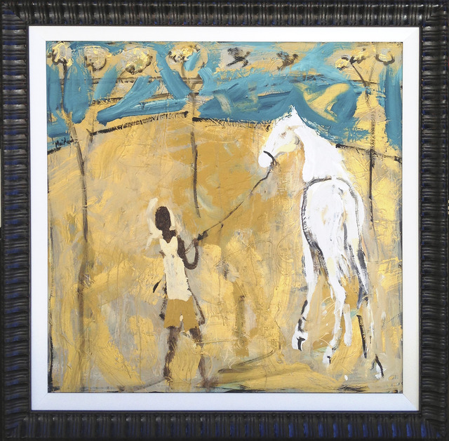 John Maitland, 'Boy with white horse and turquoise sky', 2013, Wentworth Galleries