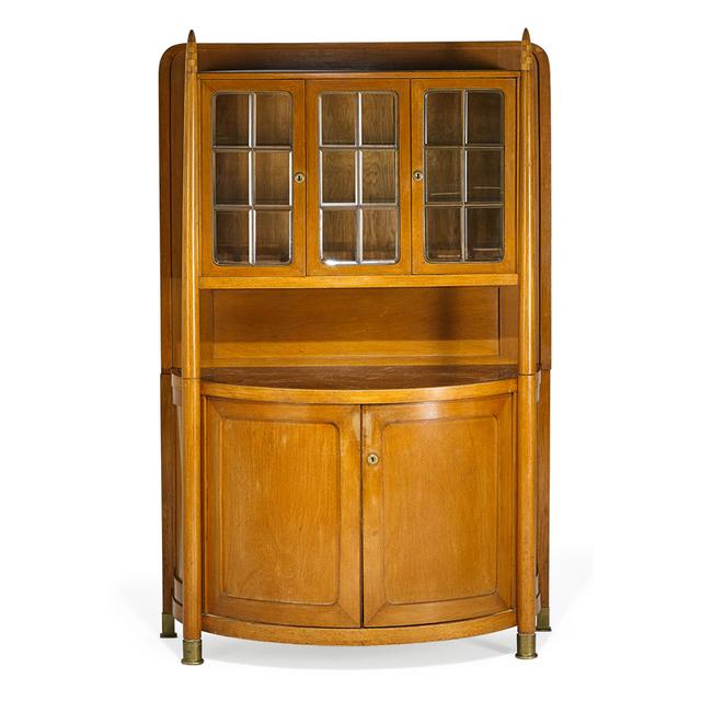 Attributed to Josef Hoffmann, 'Vitrine, Austria', ca. 1906, Design/Decorative Art, Beechwood, marble, brass, leaded glass, Rago/Wright