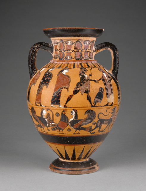 'Euboean Black-Figure Neck Amphora',  about 570 -560 B.C., J. Paul Getty Museum