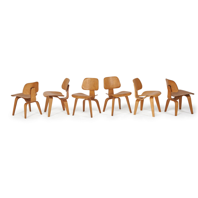 Charles and Ray Eames, 'Assembled Set Of Six Dining Chairs (Dcw)', 1940s-1950s and 2000s, Rago/Wright