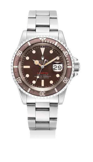 """Rolex, 'A very fine and rare stainless steel diver's wristwatch with """"tropical"""" dial, faded bezel, date and bracelet', 1970, Phillips"""