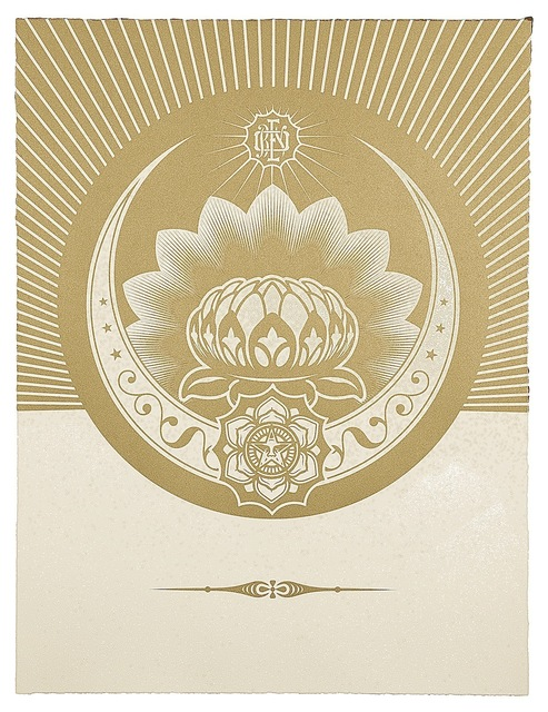 Shepard Fairey (OBEY), 'Obey Lotus Crescent (White & Gold)', 2013, Paul Stolper Gallery