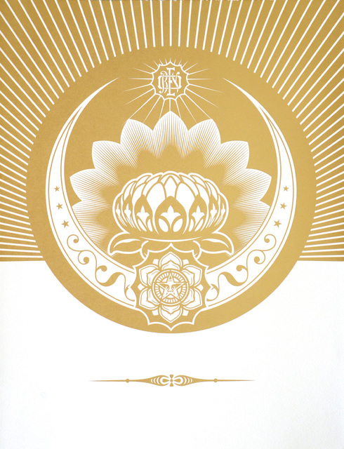 Shepard Fairey, 'Obey Lotus Crescent  (White & Gold)', 2013, Artsnap