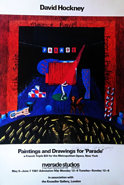 David Hockney, 'Paintings and Drawings for Parade - Metropolitan Museum (Hand Signed)', 1981, Print, Offset lithograph. hand signed by david hockney. unframed., Alpha 137 Gallery Gallery Auction