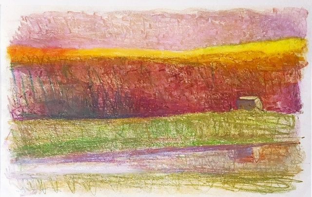 Wolf Kahn, 'Rosy Landscape in Distant Barn', 1990, Alpha 137 Gallery