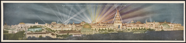 , 'Night Illumination—Panama-Pacific International Exposition—San Francisco, California,' 1915, de Young Museum