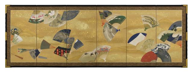, 'Six-panel Screen, Scattered Fans (T-4183),' Meiji era (1868, 1912), 19th century, Erik Thomsen