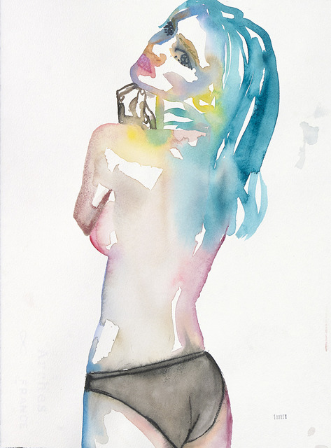 Fahren Feingold, 'Slow Blues Uprising', 2017, Painting, Watercolor on paper, The Untitled Space