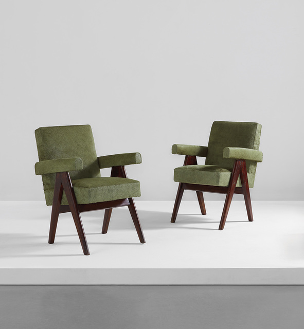 """Pierre Jeanneret, 'Pair of """"Committee"""" armchairs, model no. PJ-SI-30-A', 1953-1954, Phillips"""