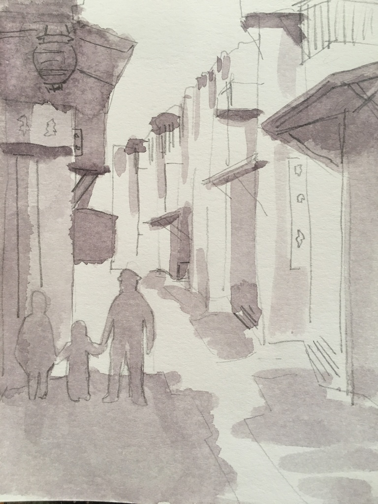 Katrin Sigurdardóttir, A Street in Chinatown, San Francisco –  undated postcard, catalog number 1988.003.008, 2020, Watercolor and pencil on cardstock