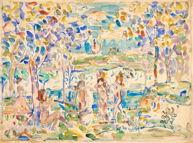Maurice Brazil Prendergast, 'Figures by the Lake Side', ca. 1910-1913, Painting, Watercolor and pencil on paper (framed), Rago/Wright