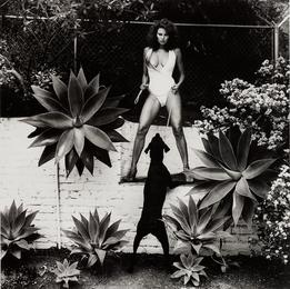 Raquel Welch in her backyard, Beverly Hills